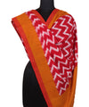 Handloom Red Mustard Ikat Cotton Dupatta