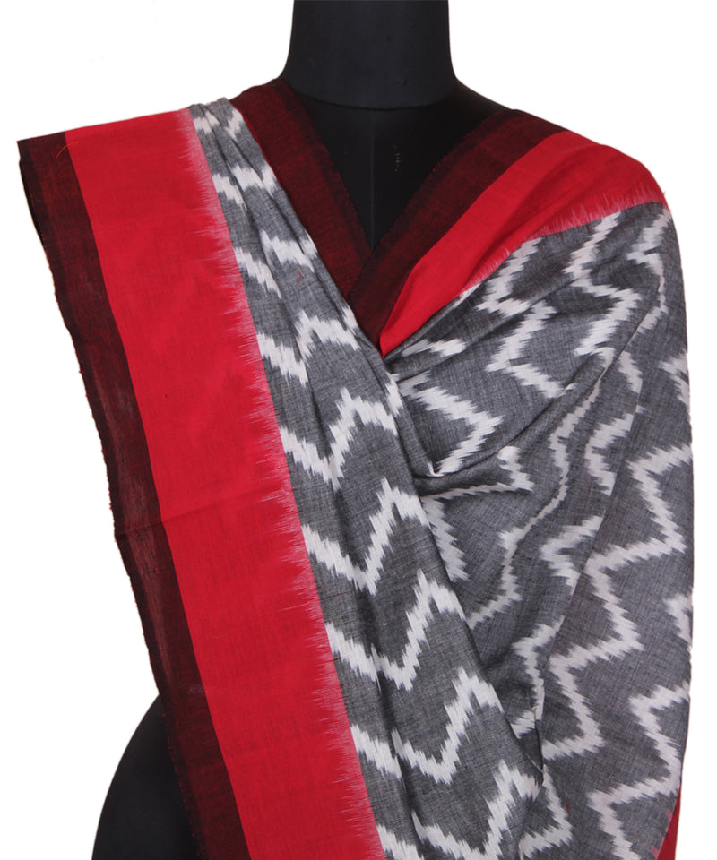Grey Red Handloom Ikkat Cotton Dupatta