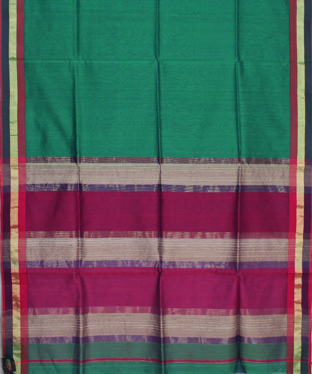 Maheshwari Handwoven Blue Green Sico Saree