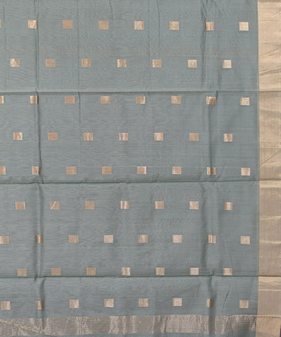 Chanderi Stone Blue Handloom Sico Saree