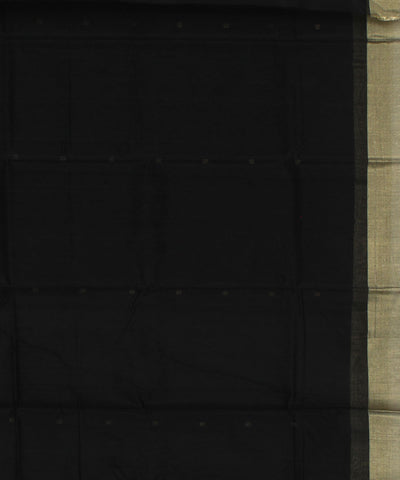 Chanderi Black Handwoven Sico Saree