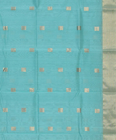 Chanderi Cyan Blue Handwoven Sico Saree