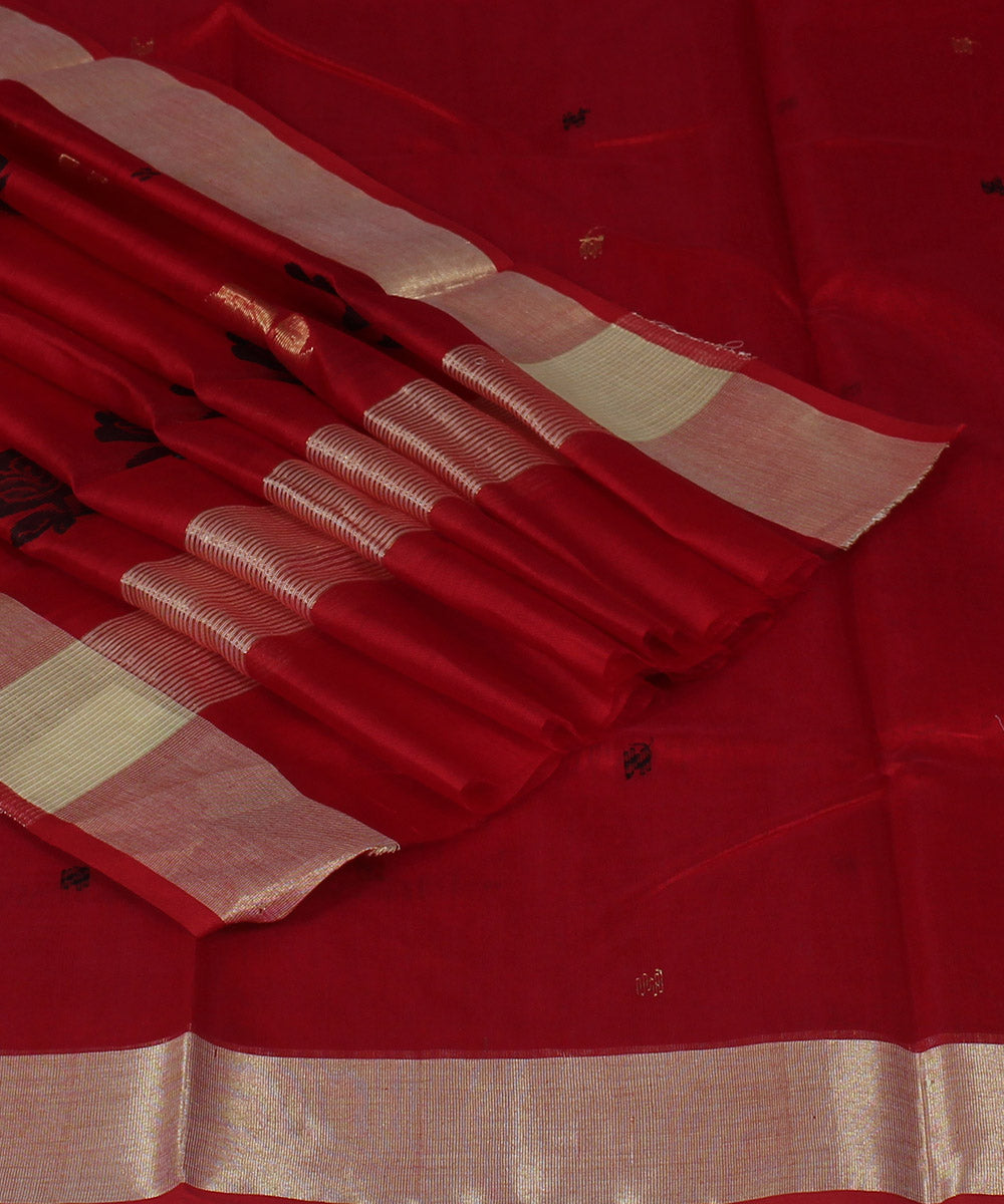 Chanderi Red Handloom Sico Saree