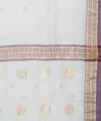 Off White Chanderi Handwoven Sico Saree