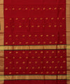 Chanderi Cherry Red Handloom Sico Saree