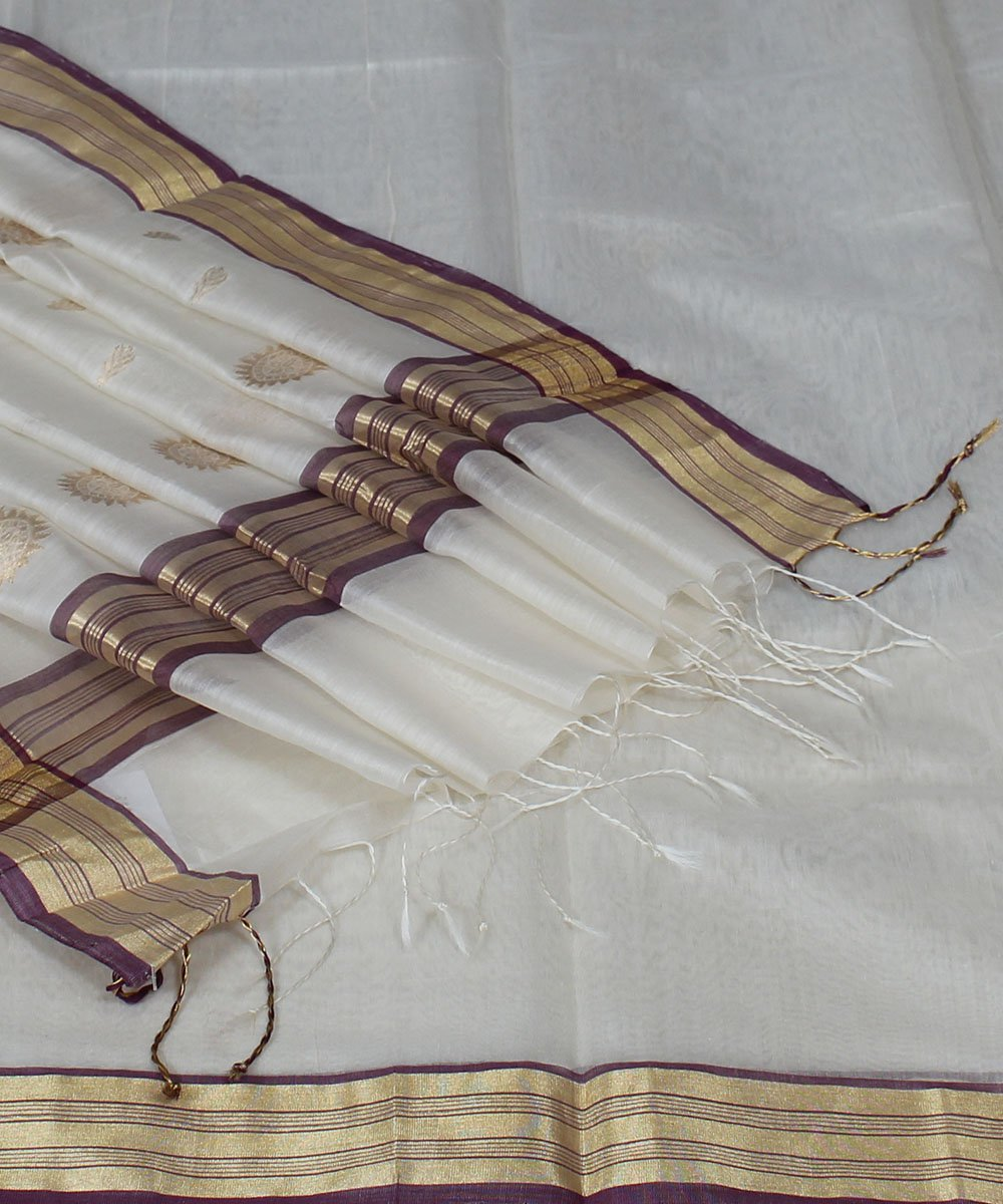 Chanderi White Handloom Saree