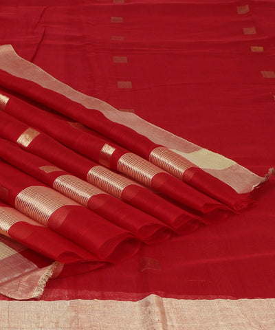 Chanderi Crimson Red Handloom Sico Saree