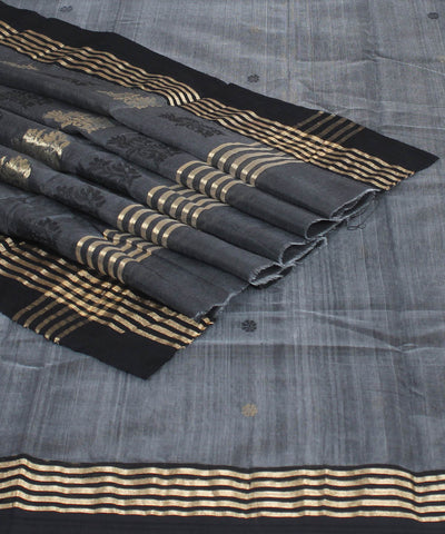 Chanderi Charcoal Grey Handloom Sico Saree