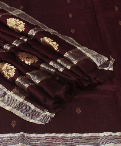 Chanderi Chocolate Brown Handloom Sico Saree