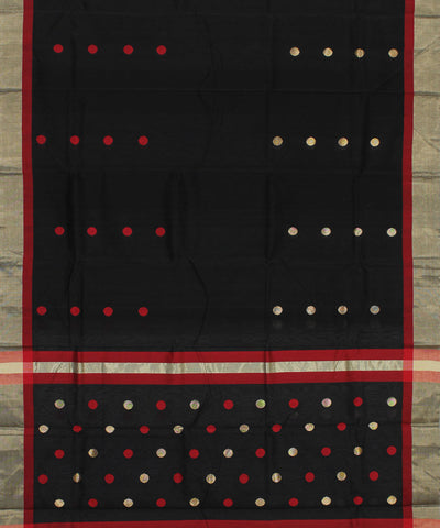 Chanderi Black Handloom Sico Saree