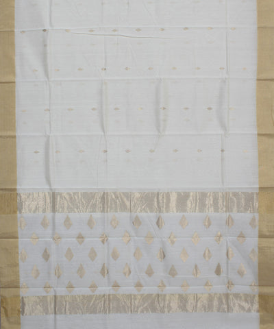 Chanderi Sico Off White Handloom Saree