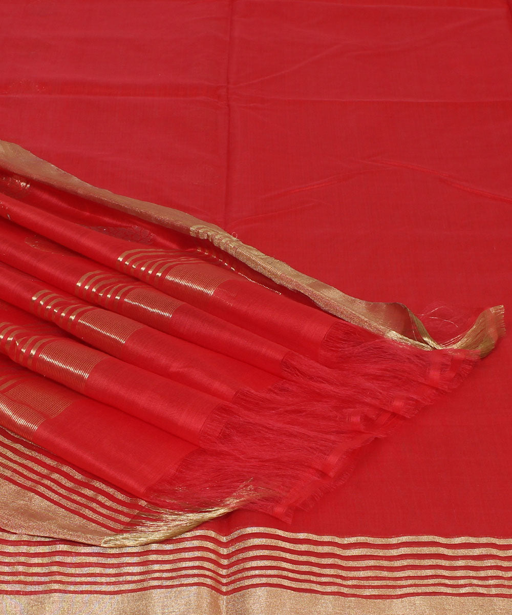 Chanderi Candy Red Handwoven Sico Saree
