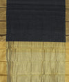 Black Chanderi Sico Handwoven Saree