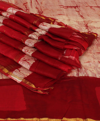Pink Red Chanderi Hand Print saree