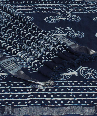 Bicycle Motif Indigo Dabu Hand Print Saree