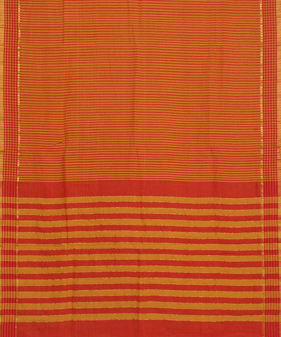 Mangalgiri Orange Red Handloom Cotton Saree