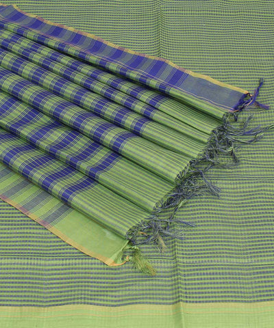 Mangalgiri Green Blue Handloom Cotton Saree