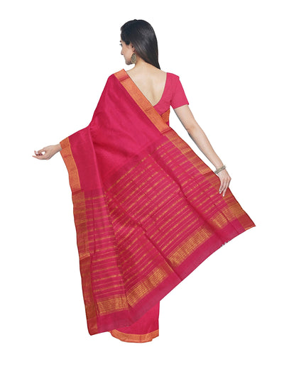 Pink Mangalagiri Handwoven Cotton Saree