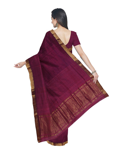 Wine Purple Mangalagiri Handloom Cotton Saree