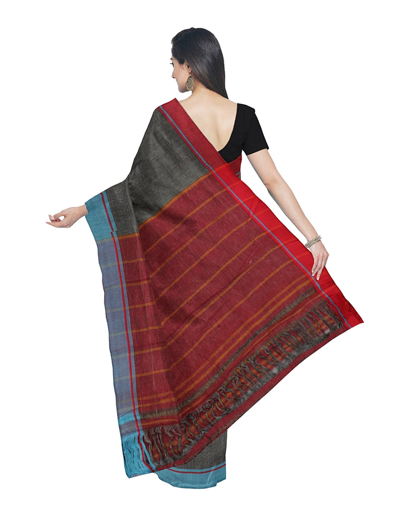 Patteda Anchu Handwoven Grey Checks Saree