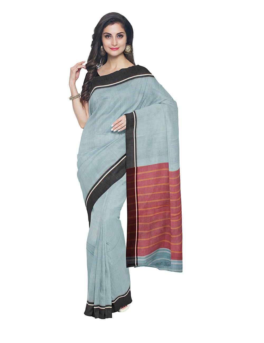 Patteda Anchu Sky Blue Checks Handwoven Saree