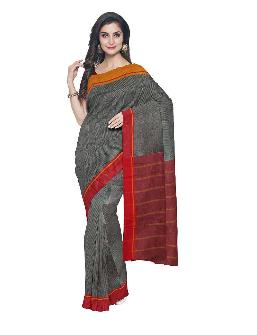 Grey Checks Patteda Anchu Handwoven Saree