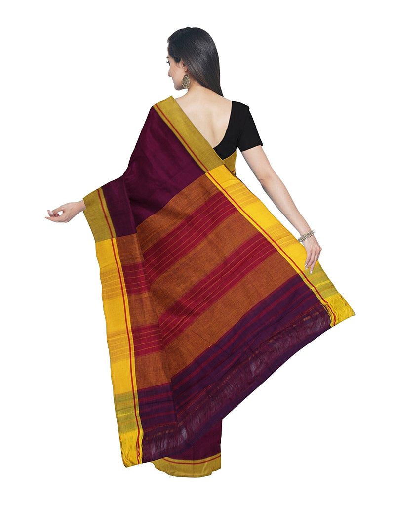 Purple Patteda Anchu Checks Handwoven Saree