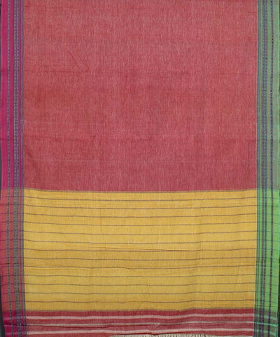 Peach Yellow Handloom Hubli Cotton Saree