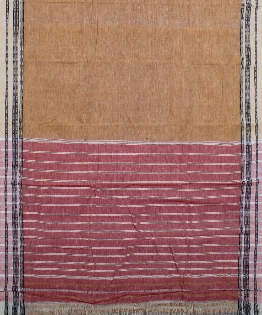 Brown and Pink Handloom Hubli Cotton Saree