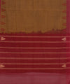 Handloom Brown Red Kanchi Cotton Saree