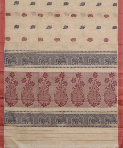 Handloom Beige Peach Kanchi Cotton Saree