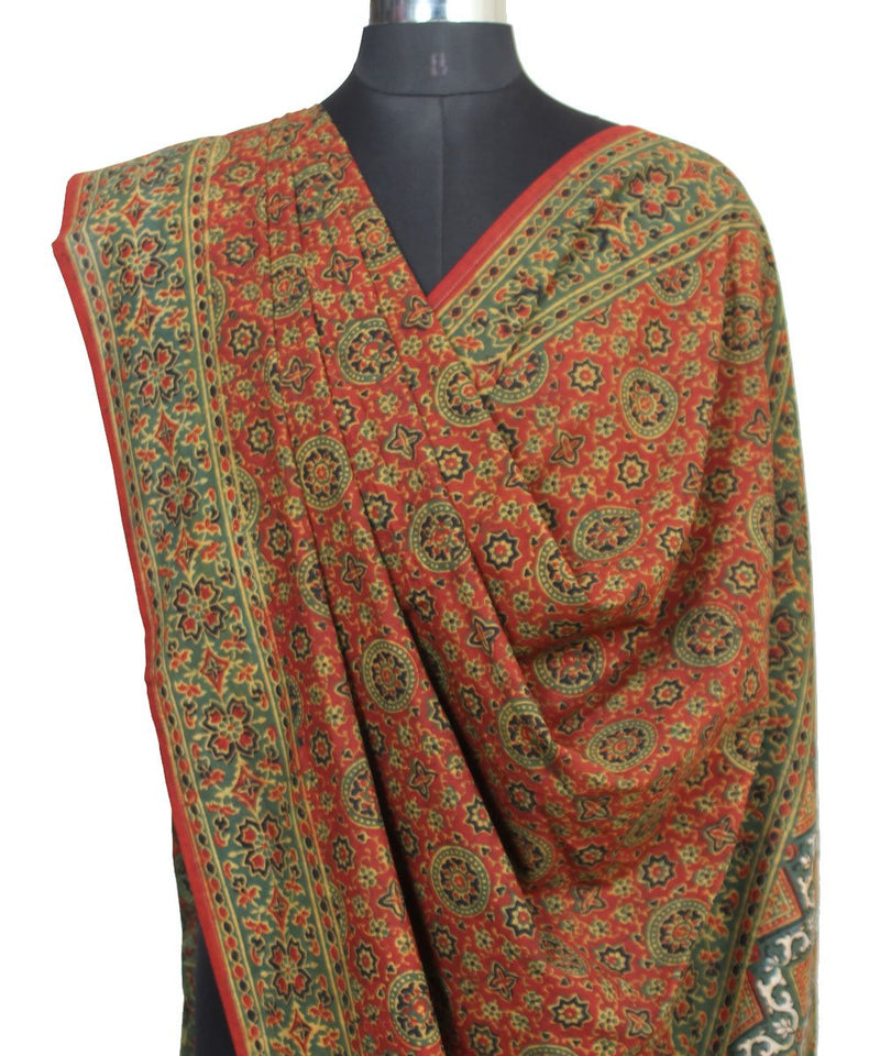 Ajrakh handblock print brown green cotton dupatta