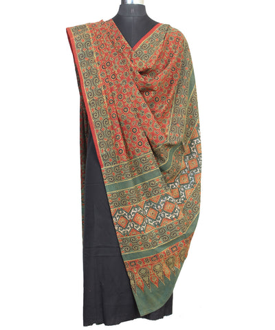 Ajrakh Hand Print Orange Green Cotton Dupatta