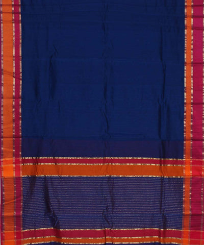 Maheshwari Berry Blue Handwoven Sico Saree