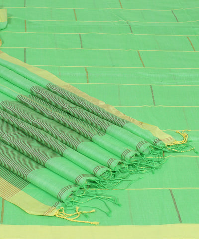 Green Striped Handwoven Bengal Cotton Saree