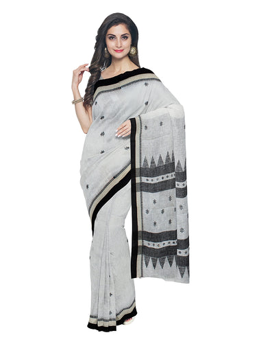 White Black Handwoven Bengal Linen Saree