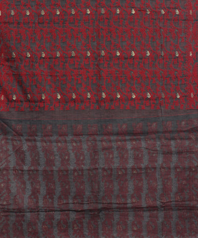 Red Black Handwoven Bengal Jamdani Saree