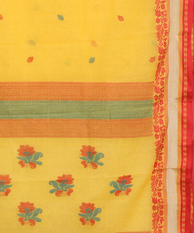 Handwoven Yellow Cotton Tant Saree