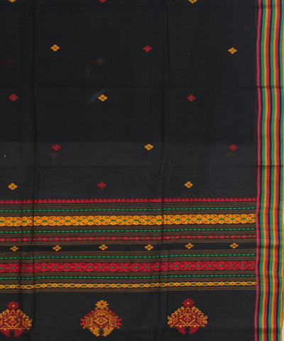 Bengal Cotton Black Handwoven Tant Saree