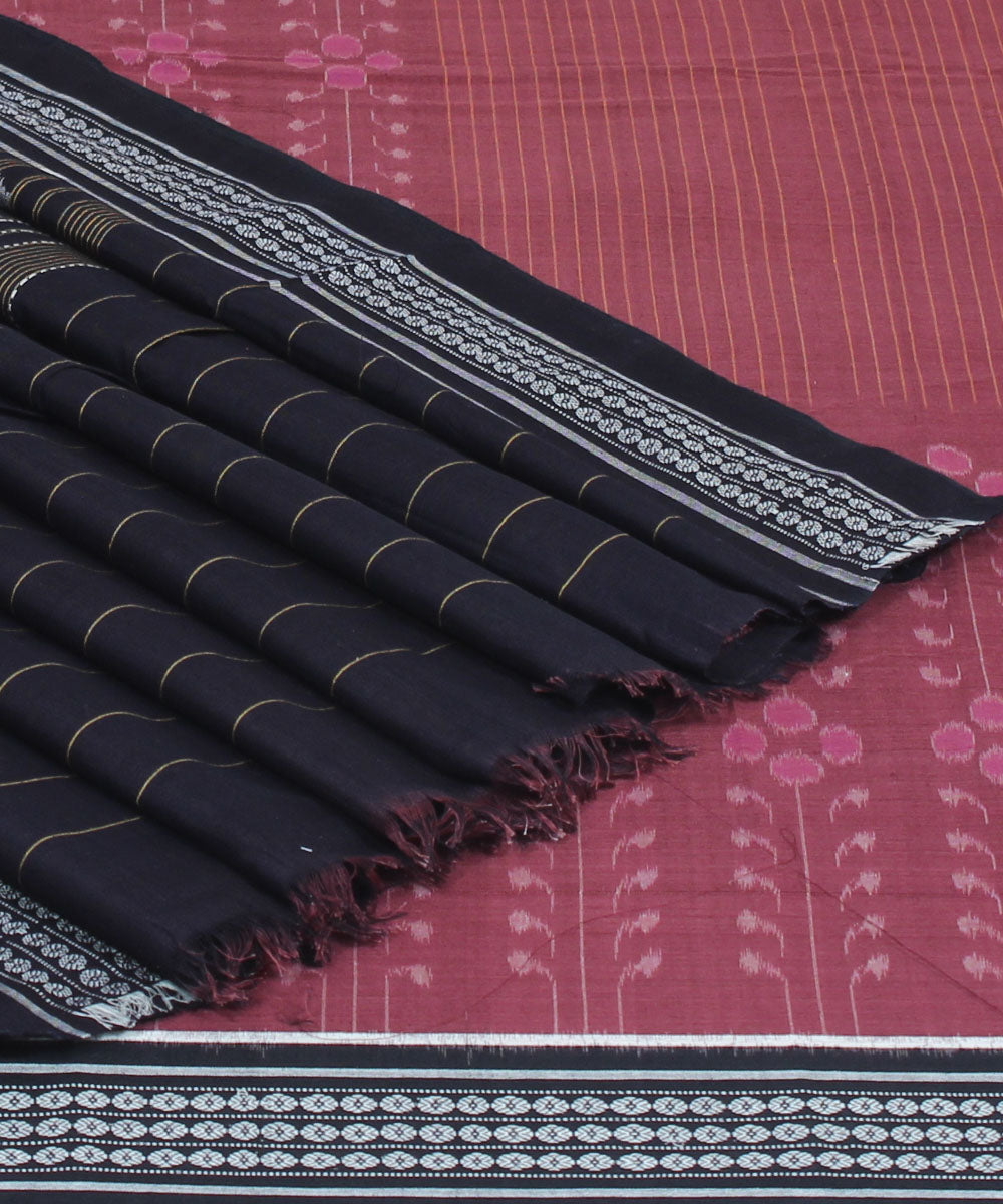 Sambalpuri Handloom Cotton Mauve Black Saree