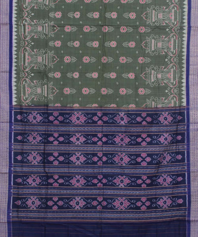 Sambalpuri Green Blue Handloom Cotton Saree