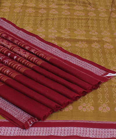 Sambalpuri Brown Maroon Handloom Cotton Saree