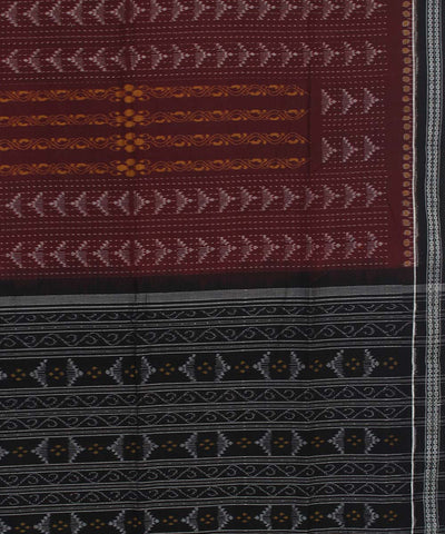 Brown Black Sambalpuri Ikat Handwoven Saree