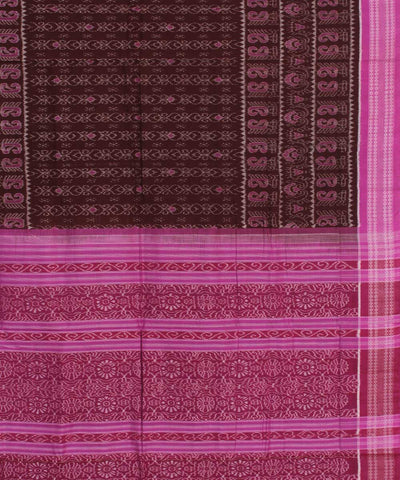 Sambalpuri Handloom Cotton Brown Pink Saree