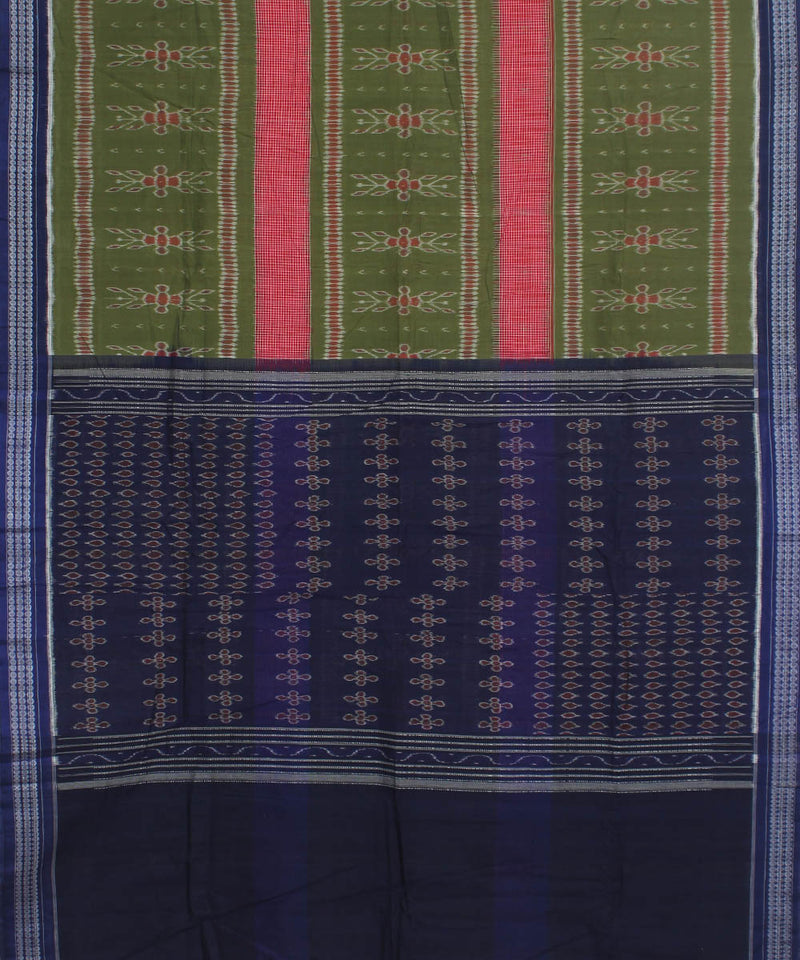 Sambalpuri Handloom Cotton Green Violet Saree