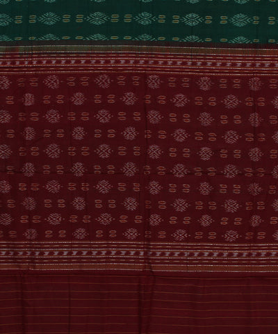 Handloom Sambalpuri Green Maroon Cotton Saree