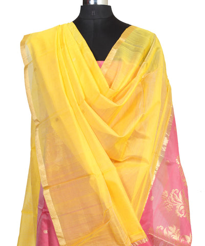 Chanderi Peach and Yellow Dress Material