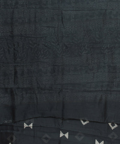 Black Hand Printed Chanderi Sico Saree