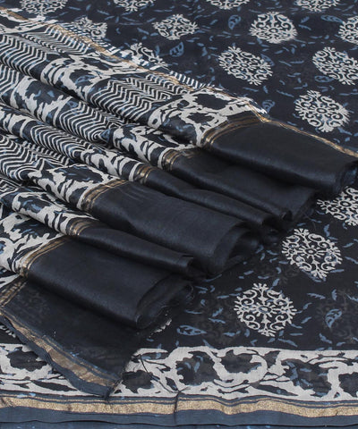 Charcoal Grey Hand Print Chanderi Sico Saree