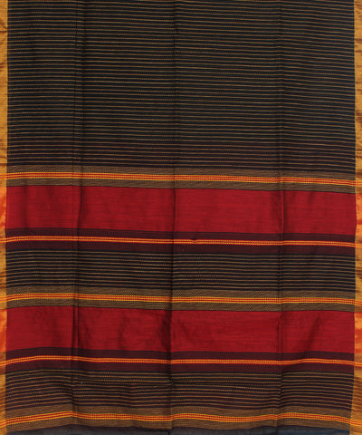 Bengal Handwoven Black Striped Cotton Saree